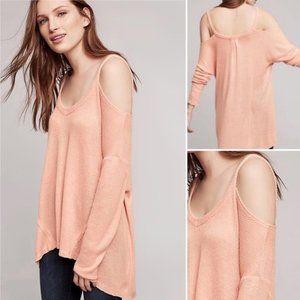 DELETTA for Anthropology Cold Shoulder Pink Top